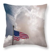 Beautifully Waves - U S Flag And Clouds Throw Pillow