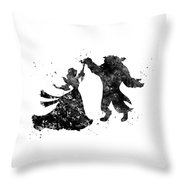 Beauty And The Beast Dancing Throw Pillow