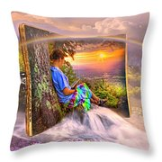 Becoming Part Of The Story In Watercolors Throw Pillow