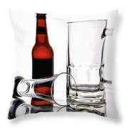 Beer Bottle And Glasses Throw Pillow