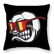 Belgium Angry Soccer Ball With Sunglasses Fanshirt Throw Pillow