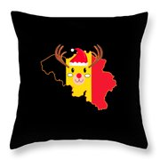 Belgium Christmas Hat Antler Red Nose Reindeer Throw Pillow