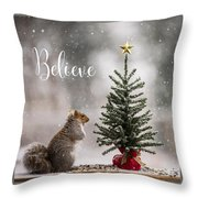 Believe Christmas Tree Squirrel Square Throw Pillow
