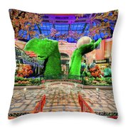 Bellagio Conservatory Spring Display Ultra Wide Trees 2018 Throw Pillow