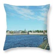 Berwick Upon Tweed, River And City Walls Throw Pillow