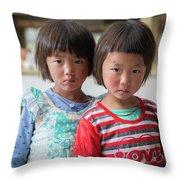 Bhutan Twins Throw Pillow