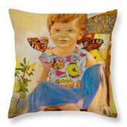 Bianka And Butterflies Throw Pillow