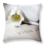 Bible With White Orchid Throw Pillow