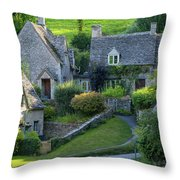 Bibury Cottages Throw Pillow