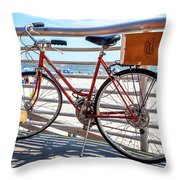 Bicycle At The Beach Throw Pillow