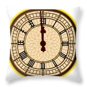 Big Ben Midnight Clock Face Throw Pillow