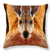 Big Boy Red Kangaroo   Throw Pillow