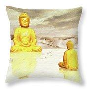 Big Buddha, Little Buddha Throw Pillow
