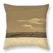 Biloxi's Pristine Beach In Sepia Tones Throw Pillow