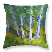 Birch Light Landscape Throw Pillow