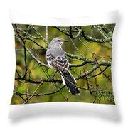 Mockingbird In Tree Throw Pillow