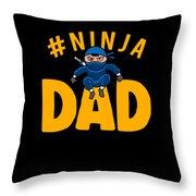 Birthday Ninja Party Dad Apparel Throw Pillow