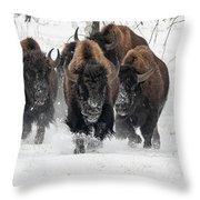Bison Bulls Run In The Snow Throw Pillow