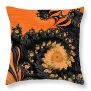 Black And Orange  Swirls Throw Pillow