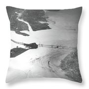 Black And White Aerial View Of Downtown San Francisco With Sun R Throw Pillow