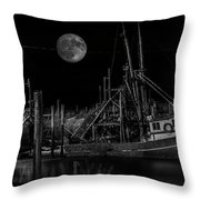 Black And White Art Fishing Boat And Full Moon Throw Pillow