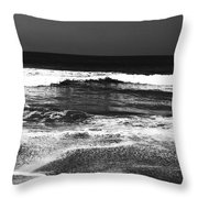 Black And White Beach 7- Art By Linda Woods Throw Pillow