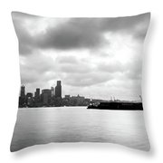Black And White Panorama Of Seattle Skyline Reflected On The Bay Throw Pillow