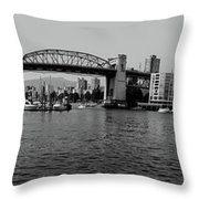 black and white panorama of Vancouver from plaza of nations showing the beautiful city Throw Pillow
