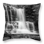 Black And White Photo Of Sheldon Reynolds Waterfalls Throw Pillow by Louis Dallara
