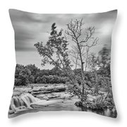 Black And White Photograph Of Link Falls At Bull Creek District Park Greenbelt - Austin Texas Throw Pillow