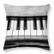 Black And White Piano Throw Pillow