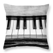Black And White Piano Throw Pillow