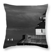 Black And White Regatta On Lake Superior Throw Pillow