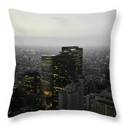 Black And White Tokyo Skyline At Night With Vibrant Selective Yellow Colors Throw Pillow