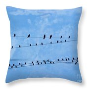 Black Birds On Crossed Wires Throw Pillow