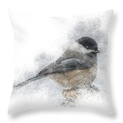 Black-capped Chickadee Perch Throw Pillow by Patti Deters