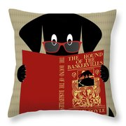 Black Dog Reading Throw Pillow by Donna Mibus