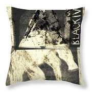 Black Ivory Horse On Hind Legs 1 Throw Pillow
