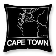 Black Map Of Cape Town Throw Pillow