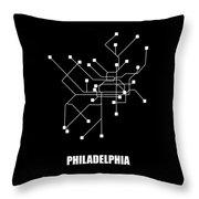 Black Philadelphia Subway Map Throw Pillow