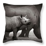 Black Rhinoceros Baby And Cow Throw Pillow