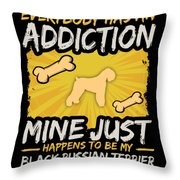 Black Russian Terrier Funny Dog Addiction Throw Pillow