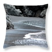 Black Sand Beach Throw Pillow