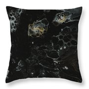 Black, Silver And Gold Abstract Throw Pillow