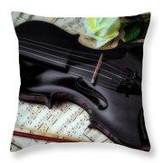 Black Violin On Sheet Music Throw Pillow