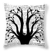 Blackbirds In A Tree - Central Throw Pillow