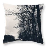 Bleak, Barren Trees Lining A Vacant Street Throw Pillow