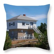 Blockhouse At Kingston Mills On The Rideau Canal Throw Pillow