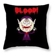 Blood Bloody Vampire Halloween Throw Pillow