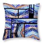 Blue Agate Mosaic Watercolor Collage Throw Pillow